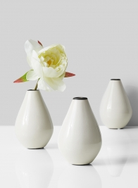teardrop ceramic bud vase with peonies