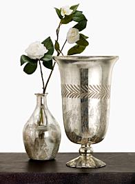 Vintage Look Mercury Glass Bottle & Urn
