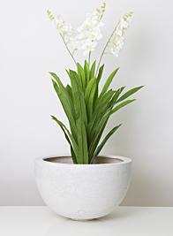 18in White Poly-Terrazzo Round Pot