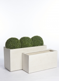 White Poly-Terrazzo Rectangular Planters