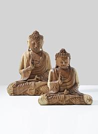 carved teak wood sitting buddha statue