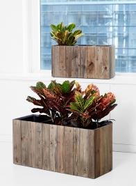 rectangular indoor wood window box planter