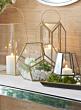 11in Emerald Cut Glass Lantern