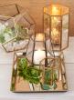 5in Gold Hexagon Glass Tea Light Holder