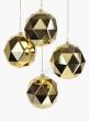 4in Shiny Gold Diamond Ornament Ball, Set of 4