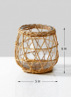 6in Wicker & Glass Candleholder