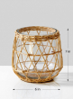 7in Wicker & Glass Candleholder