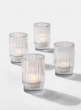 3 3/4in Pleated Glass Votive Holder, Set of 4
