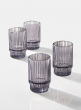 3 3/4in Smoke Pleated Glass Votive Holder, Set of 4