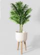 14 1/4in White Sandstone Round Pot On Wooden Leg