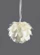 5in Glittered White Feather Ornament Ball
