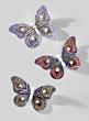 5in Pink, Purple, & Dark Purple Butterflies With Pearls, Set of 6