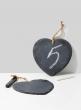 6in Slate Heart With Hemp Rope & Chalk