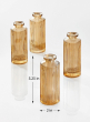 Amber Pleated Glass Bottle Bud Vase, Set of 4