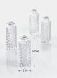 Diamond Cut Clear Glass Bottle Bud Vase, Set of 4