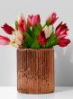 5 x 6in Antique Copper Ripple Glass Vase