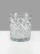 4 X 4 3/4in Diamond Cut Glass Round Vase