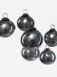 3in Antique Platinum Glass Ball Ornament in Window Box, Set of 6