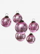 3in Antique Rose Glass Ball Ornament in Window Box, Set of 6