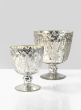 7in & 9in Patterned Silver Mercury Glass Coupes