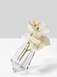 modern leaning crystal bud vase with orchids