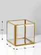 4in H Beveled Glass Gold Square Candleholder