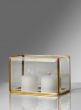 Beveled Glass Gold Box With Mirror Bottom