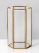 10in H Beveled Glass Gold Hexagon Hurricane