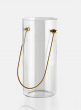 8in Gold Handle Glass Vase