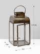 Alazhar Square Antique Bronze Lantern, 5 3/4in H