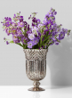 Antique Silver Mercury Glass Pedestal Vase, 5 1/2 x 9in
