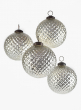4in Silver Hobnail Mercury Glass Ornament, Set of 4