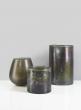 8in Mesopotamia Bronze Glass Pillar Candle Holder