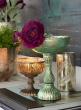Verdigris Shallow Glass Pedestal Bowl