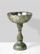 verdigris glass pedestal flower compote