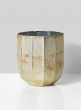 6in Faceted Pearl & Rust Glass Vase