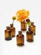 4in Dark Amber Glass Bottle Vase, Set of 6