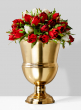 red roses centerpiece in gold vase