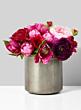 metal vase peony ranunculus floral centerpiece
