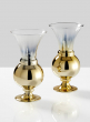 6in Ombre Gold Glass Fluted Bud Vase, Set of 2