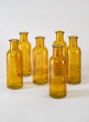 Amber Glass Bottle Bud Vase, Set of 6