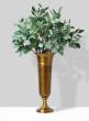 eucalyptus arrangement in gold trumpet vase