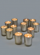 Prefilled Silver Mercury Shotglass Votive, Set of 12