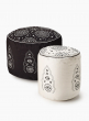 Embroidered Black & Ivory Poufs