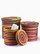 12 1/4in Multicolor Raffia Basket With Lid