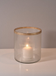 5in x 5 1/2in Gold Rim Ribbed Glass Candle Hurricane