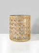6in x 7in Saigon Cane Wrapped Glass Candle Hurricane