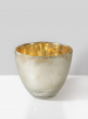 5in Frost Glass Votive Holder With Gold Inside