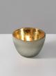 Frost Glass Tea Light Holder With Gold Inside, Set of 2
