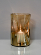 5in x 8in Gold Ombre Divot Glass Candle Hurricane